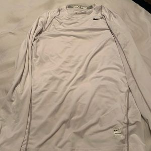 White Nike long sleeve fitted shirt